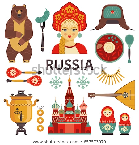russisch · iconen · vector · ingesteld · gestileerde - stockfoto © vectorpro