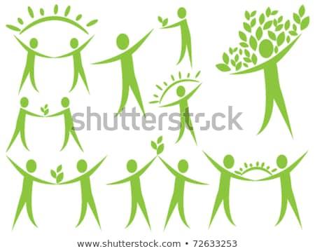 человека Рисунок зеленые листья аннотация экологический бизнеса Сток-фото © shawlinmohd