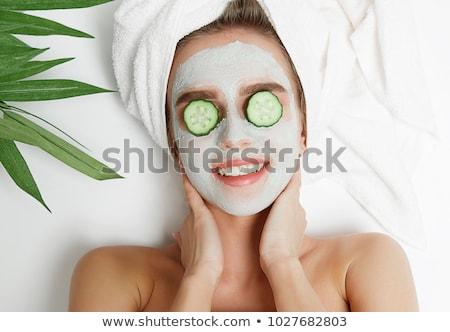 heureux · femme · souriante · serviette · photos · femme - photo stock © dolgachov