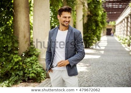 ハンサムな男 屋外 男 壁 ファッション モデル ストックフォト © Nejron