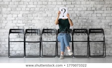 Anxieux jeune femme interrogation signe Photo stock © bmonteny