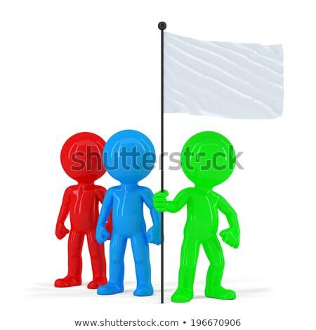 Csapat emberek tart zászló izolált vágási körvonal Stock fotó © Kirill_M