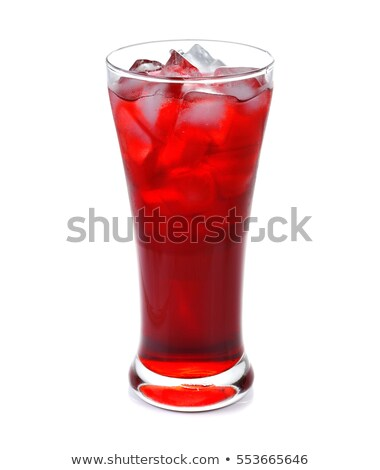 Fresh glass of red drink with iced cubes  Stock photo © punsayaporn