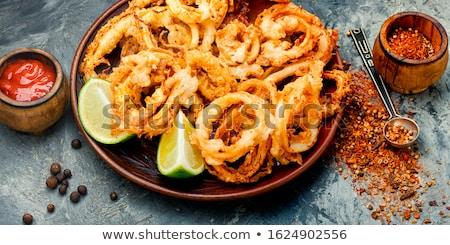 tapas · tintahal · gyűrűk · tengeri · hal · Spanyolország · kenyér - stock fotó © photooiasson