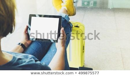 silueta · mujer · aeropuerto · mujer · de · negocios · vuelo · avión - foto stock © d13