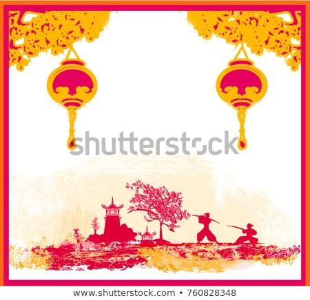старой бумаги Японский храма аннотация азиатских пейзаж Сток-фото © JackyBrown