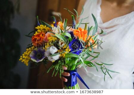 fehér · esküvői · torta · ezüst · dekoráció · esküvői · csokor · édes - stock fotó © dashapetrenko
