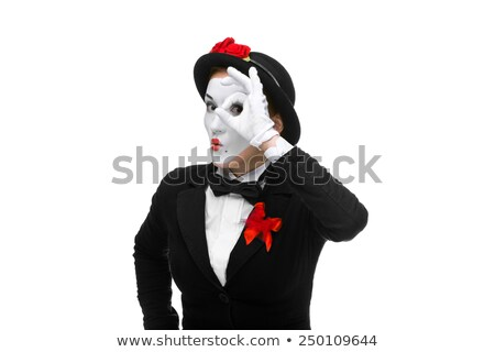 Portrait of the searching mime with hand simulating glasses Stock photo © master1305