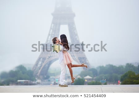 Happy beautiful couple having fun in the european city Stock photo © deandrobot