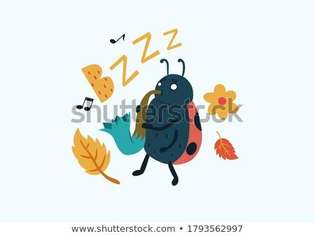 Bogár játszik szaxofon rajz illusztráció vektor Stock fotó © derocz