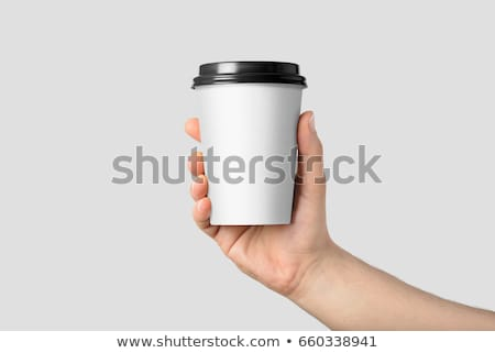 Femme tasse boisson chaude visage café forêt Photo stock © Nobilior