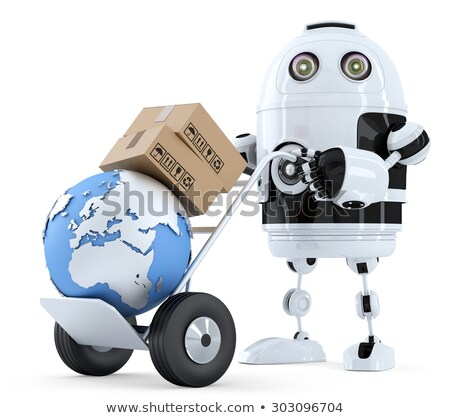 Robot pushing a hand truck with boxes. Isolated. Contains clipping path Stock photo © Kirill_M