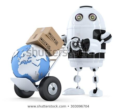 3D · trabajador · empujando · mano · camión · cajas - foto stock © kirill_m