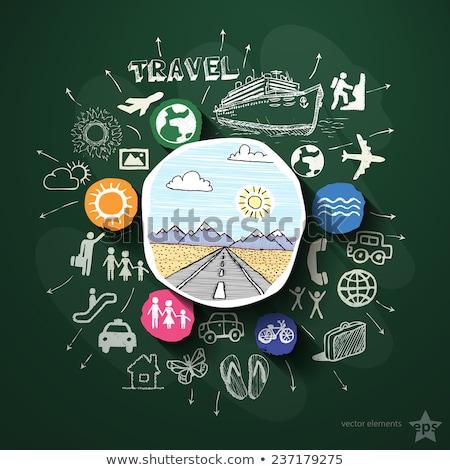Statek wycieczkowy ikona kredy tablicy Zdjęcia stock © RAStudio