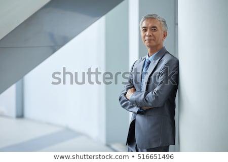 Asiático homem de negócios 40 anos sudeste indicação transparente Foto stock © yongtick