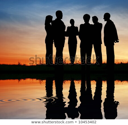 silhouette business team. sunset water Stock photo © Paha_L
