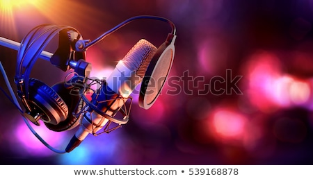 Stúdió mikrofon fejhallgató zenei stúdió fém fekete Stock fotó © your_lucky_photo