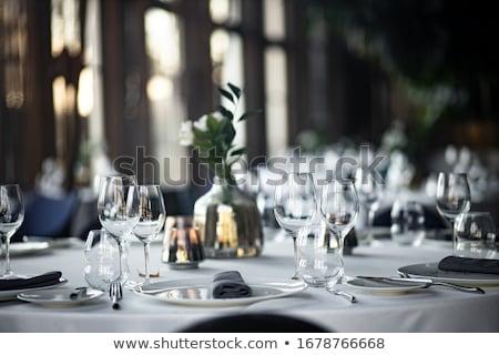tabela · conjunto · para · cima · refeição · talheres · flor - foto stock © keko64