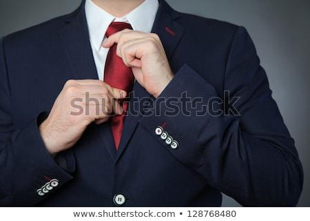 Blauw man pak Rood stropdas elegante Stockfoto © smuki
