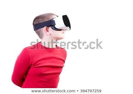 Boy with virtual reality glasses peers left Stock photo © ozgur