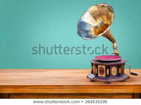 Foto stock: Music Card With Gramophone