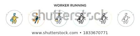man running inside the gear line icon stock photo © rastudio