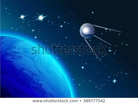 Retro Satellite in space. Cosmonautics Day. First satellite in space Stock photo © orensila