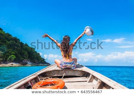 Asian bikini woman happy on beach travel vacation Stock photo © Maridav