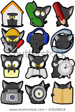 cute cat icons set ii stock photo © sahua