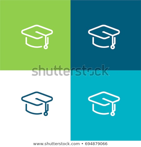 Flat design icon of Graduation cap in ui colors Stock photo © angelp