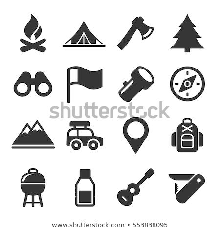 ícone camping machado mão madeira trabalhar Foto stock © angelp