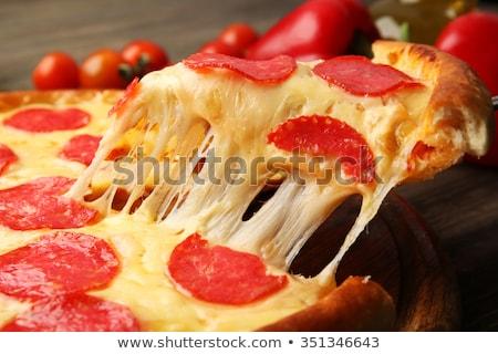 Pizza felszolgált étterem asztal sajt paradicsom Stock fotó © dashapetrenko