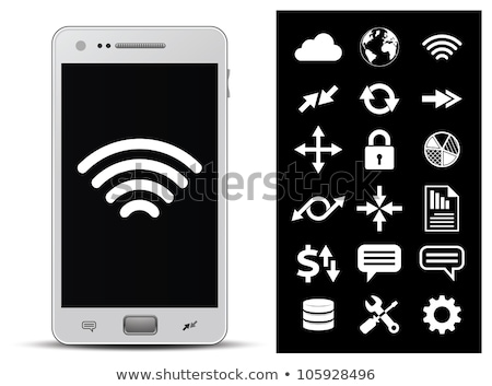 Stock photo: Vector icon of cloud with sending Wi-Fi symbol