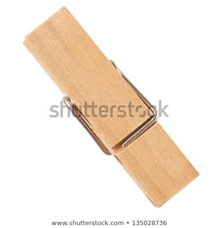 Bruin houten wasknijper witte metaal kleur Stockfoto © ShawnHempel