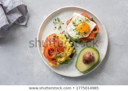 Foto stock: Sanduíche · salmão · café · da · manhã · suco · de · laranja · comida · peixe