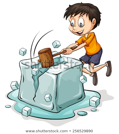 Boy breaking the icecube Stock photo © bluering