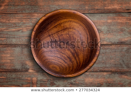 Foto stock: Vazio · tigela · mesa · de · madeira · comida · café · projeto