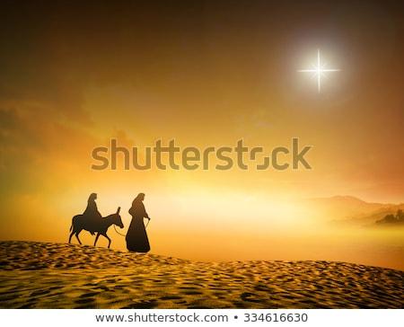 Jesus burro ilustração mulher homem deserto Foto stock © adrenalina