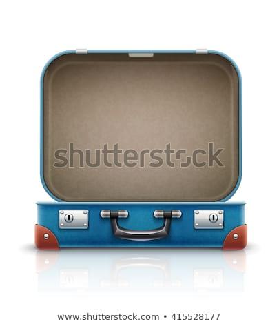オープン · 青 · スーツケース · 孤立した · 白 · テクスチャ - ストックフォト © ivonnewierink