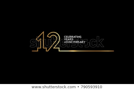 12th anniversary celebration badge label in golden color Stock photo © SArts