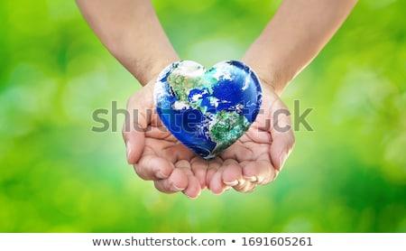 Сток-фото: рук · земле · сердце · природного · зеленый