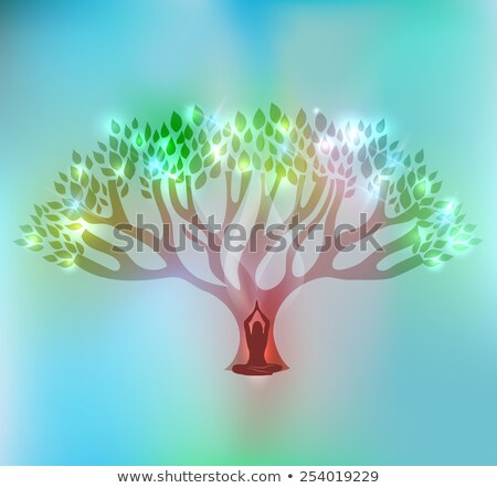 big tree and woman at the front of the tree with sparkling leafs stock photo © tefi
