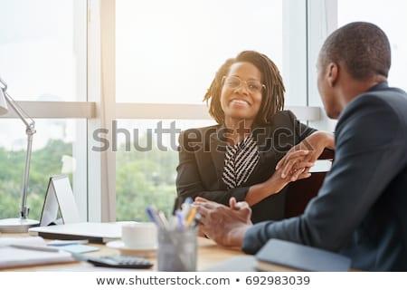 Femme d'affaires belle afro isolé blanche Photo stock © Kurhan