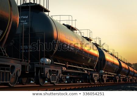 Train on railroad at sunset Stock photo © joyr