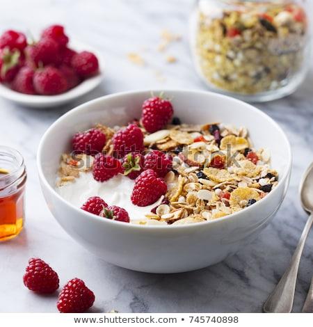 Tál müzli gyümölcsök gyümölcs desszert diéta Stock fotó © M-studio