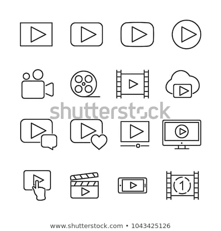 Stock photo:  set of cinema icon for online movies.
