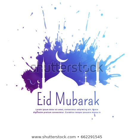 mosque silhouette with ink splatter for eid festival Stock photo © SArts