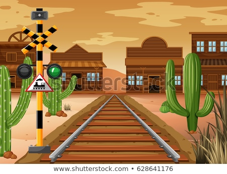Scene with cowboy town and railroad Stock photo © bluering