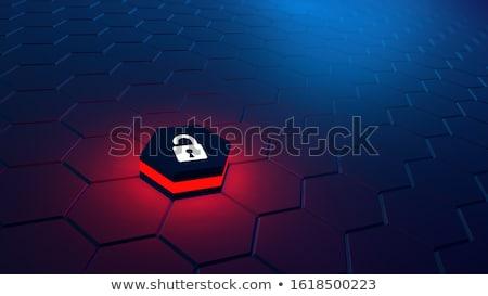 Czerwony danych szyfrowanie przycisk klawiatury 3d ilustracji Zdjęcia stock © tashatuvango