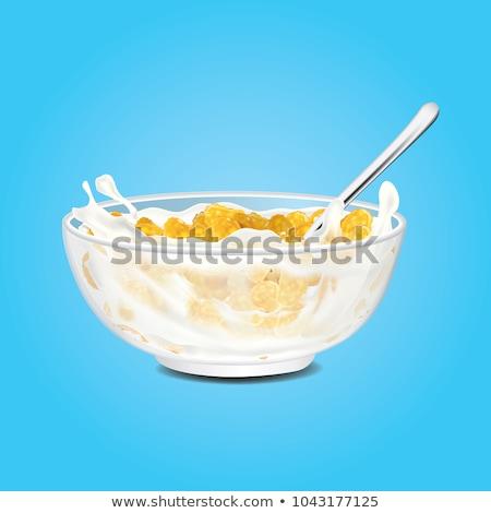 朝食 · コーンフレーク · ミルク · 白 · ヨーグルト · ボウル - ストックフォト © Digifoodstock